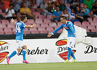 Napoli's Dries Mertens  celebrates after scoring during the Europa  League Group D soccer match against Brugge   at the San Paolo  Stadium in Naples September 17, 2015