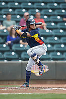 Kristian Trompiz (13) of the Buies Creek Astros at bat against the Winston-Salem Dash at BB&T Ballpark on May 5, 2018 in Winston-Salem, North Carolina. The Dash defeated the Astros 6-2. (Brian Westerholt/Four Seam Images)