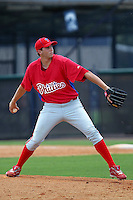 Matt Hutchison (47) Pitcher for the GCL Phillies delivers a pitch during a game on June 26, 2010 against the GCL Yankees at the Yankees Training Complex in Tampa, The GCL Phillies are the Gulf Coast Rookie League affiliate of the Philadelphia Phillies.Hutchison was selected by the Phillies in the 25th round (771 overall) of the 2010 MLB first Year Player Draft. Photo By Mark LoMoglio/Four Seam Images