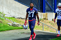 June 7, 2017: New England Patriots defensive back Dwayne Thomas (27) walks to practice at the New England Patriots mini camp held on the practice field at Gillette Stadium, in Foxborough, Massachusetts. Eric Canha/CSM