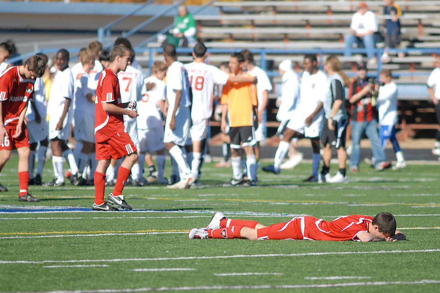 A high school athete Dustin Geist of Durango High School reacts to his team losing the 2007 Colorado state playoff semi final game.