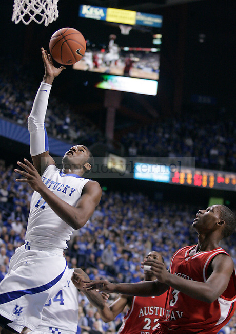 Freshman guard John Wall goes up for a layup during the first half of the game against Austin Peay at Rupp Arena on Saturday. The Cats lead 49-35 over the Governors. Photo by Zach Brake | Staff