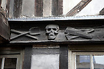 Detail of Skull on Altre Saint Maclov Courtyard which was used as a burial ground during the Middle Ages in Rouen, Normandy, France