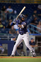 San Antonio Missions right fielder Franmil Reyes (7) at bat during a game against the Tulsa Drillers on June 1, 2017 at ONEOK Field in Tulsa, Oklahoma.  Tulsa defeated San Antonio 5-4 in eleven innings.  (Mike Janes/Four Seam Images)
