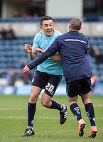 Luke O'Nien of Wycombe Wanderers & Michael Harriman of Wycombe Wanderers are in high spirits during warm up during the Sky Bet League 2 match between Wycombe Wanderers and Bristol Rovers at Adams Park, High Wycombe, England on 27 February 2016. Photo by Andy Rowland.