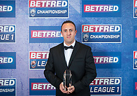 Picture by Allan McKenzie/SWpix.com - 25/09/2018 - Rugby League - Betfred Championship & League 1 Awards Dinner 2018 - The Principal Manchester- Manchester, England - Community Champion of the Year is presented to Ben Moorhouse.