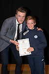 St Johnstone FC Academy Awards Night...06.04.15  Perth Concert Hall<br /> Zander Clark presents a certificate to Ben Sellars<br /> Picture by Graeme Hart.<br /> Copyright Perthshire Picture Agency<br /> Tel: 01738 623350  Mobile: 07990 594431
