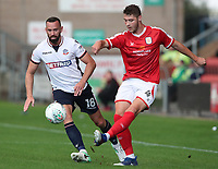 Bolton Wanderers Aaron Wilbraham and Crewe Alexandra's Brad Walker<br /> <br /> Photographer Rachel Holborn/CameraSport<br /> <br /> The Carabao Cup - Crewe Alexandra v Bolton Wanderers - Wednesday 9th August 2017 - Alexandra Stadium - Crewe<br />  <br /> World Copyright &copy; 2017 CameraSport. All rights reserved. 43 Linden Ave. Countesthorpe. Leicester. England. LE8 5PG - Tel: +44 (0) 116 277 4147 - admin@camerasport.com - www.camerasport.com