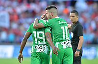 MEDELLÍN - COLOMBIA .08-09-2019:Pablo Ceppelini jugador del Atlético Nacional celebra después de anotar un gol al Independiente Medellín durante partido por la fecha 10 de la Liga Águila II 2019 jugado en el estadio Atanasio Girardot de la ciudad de Medellín. /Pablo Ceppelini player of Atletico Nacional  celebrates after scoring a goal agaisnt of Independiente Medellin  during the match for the date 10 of the Liga Aguila II 2019 played at the Atanasio Girardot  Stadium in Medellin  city. Photo: VizzorImage /León Monsalve / Contribuidor.