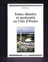 Abidjan, Cote d'Ivoire, Ivory Coast.  Riviera Mosque.  Worshippers leaving the mosque after the Eid al-Adha prayers. Book cover.