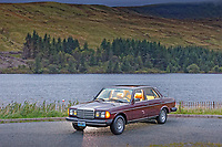 Pictured: The Mercedes W123 300 Turbo Diesel by Beacons Reservoir on the A470 road near by Pen-Y-Fan, Wales, UK. Friday 30 August 2019<br /> Re: A classic Mercedes W123 300 Turbo Diesel which has been sent over from Missouri in the USA to restorer Mark Cosovich in Swansea, Wales, UK.