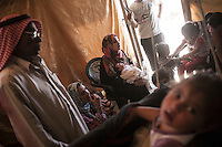 June 11, 2015 - Bekaa Valley, Lebanon: Syrian refugees gather inside a tent in a temporary shelter settled in Saadnayel city in east of Lebanon. All of them are refugees from Syria who fled years ago when opposition armed groups started battling against the government of President Bashar Al-Assad. (Photo/Narciso Contreras)