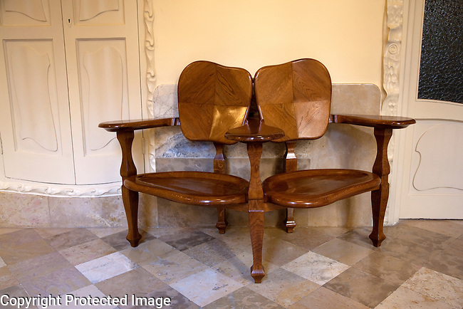 Furniture Chair inside Pedrera House Museum by Gaudi in Barcelona, Catalonia, Spain