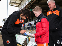 Blackpool's Nya Kirby signs an autograph for a young supporter<br /> <br /> Photographer Andrew Kearns/CameraSport<br /> <br /> The EFL Sky Bet League Two - Bristol Rovers v Blackpool - Saturday 2nd March 2019 - Memorial Stadium - Bristol<br /> <br /> World Copyright © 2019 CameraSport. All rights reserved. 43 Linden Ave. Countesthorpe. Leicester. England. LE8 5PG - Tel: +44 (0) 116 277 4147 - admin@camerasport.com - www.camerasport.com