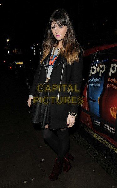 Lilah Parsons.attended the Casio Tokyo Trio Watch launch party, The Study, Blandford St., London, England..January 28th, 2013.full length black jacket skirt tights.CAP/CAN.©Can Nguyen/Capital Pictures.