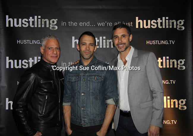 "Days of Our Lives Sebastian La Cause poses with friends at the third and final season of ""Hustling"" and attend the screening on December 16, at the Tribeca Cinemas, New York City, New York. The evening had a red carpet, cocktails and the screening. (Photo by Sue Coflin/Max Photos)"