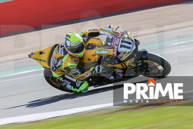 James ELLISON (11) of the BSB Anvil Hire TAG Yamaha race team during Free Practice 1 at Round 9 of the 2018 British Superbike Championship at Silverstone Circuit, Towcester, England on Friday 7 September 2018. Photo by David Horn.
