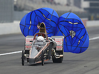 Feb 10, 2017; Pomona, CA, USA; NHRA top dragster driver XXXX during qualifying for the Winternationals at Auto Club Raceway at Pomona. Mandatory Credit: Mark J. Rebilas-USA TODAY Sports