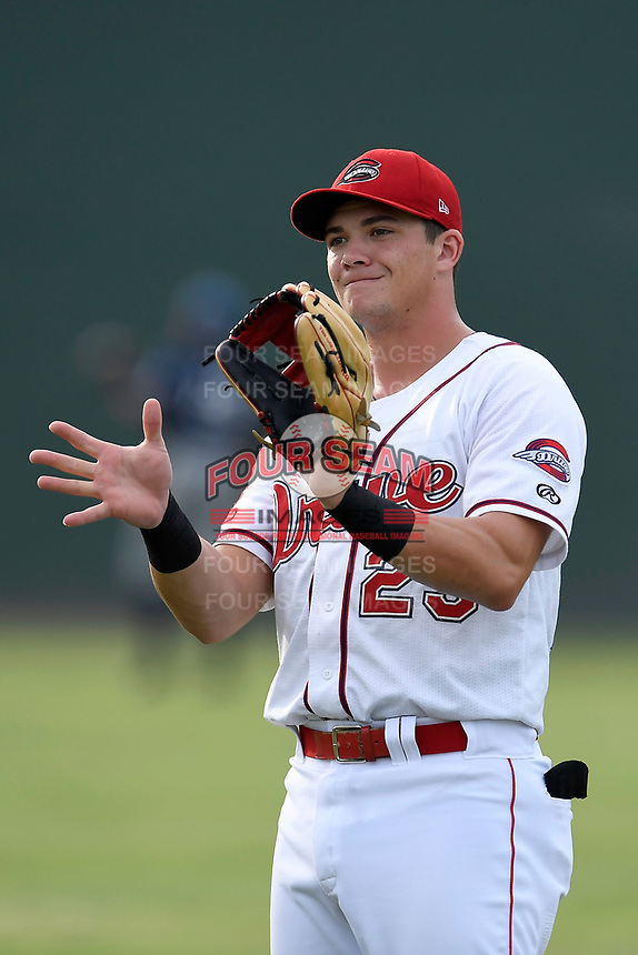 Third baseman Bobby Dalbec (23) of the Greenville Drive warms up before a game against the Asheville Tourists on Wednesday, August 2, 2017, at Fluor Field at the West End in Greenville, South Carolina. Greenville won, 1-0. (Tom Priddy/Four Seam Images)