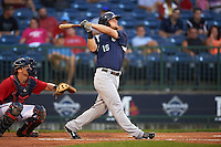 Pensacola Blue Wahoos outfielder Kyle Waldrop (15) at bat during a game against the Mississippi Braves on May 28, 2015 at Trustmark Park in Pearl, Mississippi.  Mississippi  defeated Pensacola 4-2.  (Mike Janes/Four Seam Images)