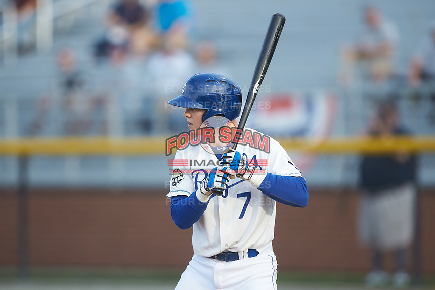 William Hancock (7) of the Burlington Royals at bat against the Pulaski Yankees at Burlington Athletic Stadium on August 25, 2019 in Burlington, North Carolina. The Yankees defeated the Royals 3-0. (Brian Westerholt/Four Seam Images)
