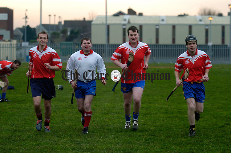 Molex/John Crane Players Paul Fitzpatrick, Padraig O Leary, goalie, Anthony O Donoghue and Sean Doyle at a recent training session training. Photograph by John Kelly.