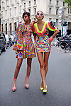 Photo by Heathcliff Omalley..Paris,saturday 29 September.For news ... `Models Sapna and Anna wearing mini dresses by Indian Designer Manish Arora. His show will be held in Paris tomorrow at the opening of Paris fashion week.