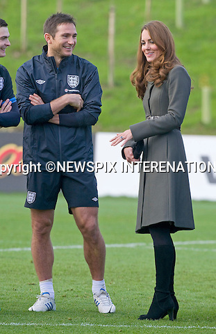 """CATHERINE, DUCHESS OF CAMBRIDGE.chats to members of the English Footbal Squad including Frank Lampard..Katew and Prince William attended the opening of St. George's Park, the Football Association's National Football Centre, Burton-Upon-Trent..Their Royal Highnesses were given a tour of the main facilities on the 330-acre site and also met England Manager Roy Hodgson and his squad as they trained at St. George's Park for the first time_09/10/2012.Mandatory credit photo: ©Dias/NEWSPIX INTERNATIONAL..(Failure to credit will incur a surcharge of 100% of reproduction fees)..                **ALL FEES PAYABLE TO: """"NEWSPIX INTERNATIONAL""""**..IMMEDIATE CONFIRMATION OF USAGE REQUIRED:.DiasImages, 31a Chinnery Hill, Bishop's Stortford, ENGLAND CM23 3PS.Tel:+441279 324672  ; Fax: +441279656877.Mobile:  07775681153.e-mail: info@newspixinternational.co.uk"""
