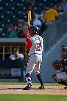 Ozzie Albies (2) of the Gwinnett Braves at bat against the Charlotte Knights at BB&T BallPark on May 22, 2016 in Charlotte, North Carolina.  The Knights defeated the Braves 9-8 in 11 innings.  (Brian Westerholt/Four Seam Images)