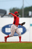 Williamsport Crosscutters second baseman Josh Tobias (33) throws to first during a game against the Batavia Muckdogs on August 29, 2015 at Dwyer Stadium in Batavia, New York.  Williamsport defeated Batavia 7-3.  (Mike Janes/Four Seam Images)