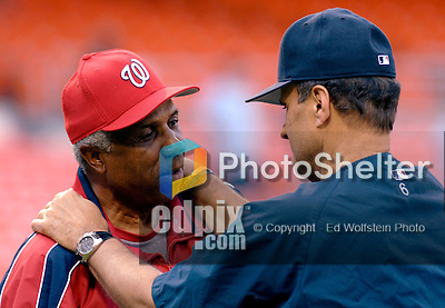 16 June 2006: Frank Robinson (left), Hall of Fame manager of the Washington Nationals, talks with Yankees manager Joe Torre (right) prior to a game against the New York Yankees at RFK Stadium, in Washington, DC. The Yankees defeated the Nationals 7-5 in the first meeting of the two franchises...Mandatory Photo Credit: Ed Wolfstein Photo...