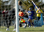 BROOKINGS, SD, OCTOBER 21: Bianca Madonia #24 from South Dakota State pushes the ball before getting a shot on goalie Ryliegh Bohnenstiehl #01 from Oral Roberts during their match Sunday afternoon at Fischback Soccer Field in Brookings. (Dave Eggen/Inertia)