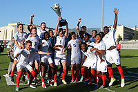 Joe Worrall holds aloft the Trophy and England celebrate during England Under-18 vs Ivory Coast Under-20, Toulon Tournament Final Football at Stade de Lattre-de-Tassigny on 10th June 2017