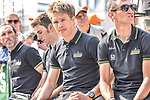 Chris Juul Jensen (IRL/DEN) and the Mitchelton-Scott team wait to go on stage outside Le Palais des Princes-&Eacute;v&ecirc;ques at the team presentation before the 104th edition of La Doyenne, Liege-Bastogne-Liege 2018, Belgium. 21st April 2018.<br /> Picture: ASO/Karen Edwards | Cyclefile<br /> <br /> <br /> All photos usage must carry mandatory copyright credit (&copy; Cyclefile | ASO/Karen Edwards)