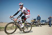 Alexander Kristoff (NOR/Katusha) on the Carrefour de l'Arbre sector<br /> <br /> 2015 Paris-Roubaix recon