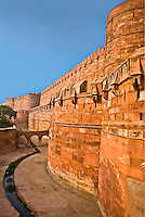 Detail of the exterior wall of the UNESCO World Hertitage listed Red Fort, at one time the residence of the Emperor Shah Jahan.<br /> (Photo by Matt Considine - Images of Asia Collection)