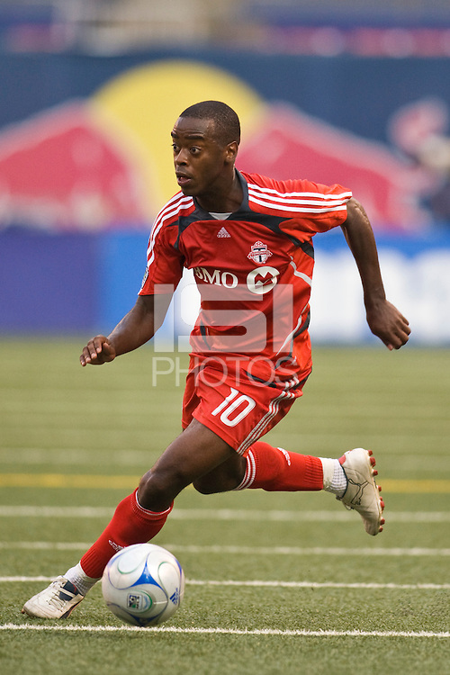 Toronto FC midfielder Rohan Ricketts (10). The New York Red Bulls defeated Toronto FC 2-0 during a Major League Soccer match at Giants Stadium in East Rutherford, NJ, on August 17, 2008.