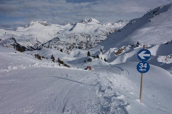 Snow groomer at Zurs Ski Areas, St Anton, Austria