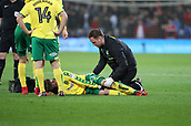 1st December 2017, Cardiff City Stadium, Cardiff, Wales; EFL Championship Football, Cardiff City versus Norwich City; James Maddison of Norwich City receives treatment after over stretching during a tackle in the 1st half