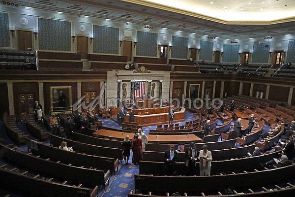 Empty United States House Chamber prior to US President Donald J. Trump delivering his second annual State of the Union Address to a joint session of the US Congress in the US Capitol in Washington, DC on Tuesday, February 5, 2019. Photo Credit: Alex Edelman/CNP/AdMedia