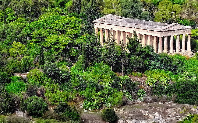 Temple of Hephaestus as viewed from the Acropolis in Athens, Greece