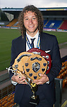 St Johnstone FC Player of the Year Awards...18.05.14<br /> Stevie May struggling to carry all the awards he picked up at Player of the Year Awards<br /> Picture by Graeme Hart.<br /> Copyright Perthshire Picture Agency<br /> Tel: 01738 623350  Mobile: 07990 594431