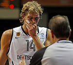 Germany natioanal basketball team player Dirk Nowitzki reacts during round 1, Group B, basketball game between Germany and Serbia in Lithuania, Siauliai, Siauliu arena, Eurobasket 2011, Sunday, September 4, 2011. (photo: Pedja Milosavljevic/STARSPORT).