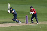 Joe Denly in batting action for Kent as Adam Wheater looks on from behind the stumps during Essex Eagles vs Kent Spitfires, Royal London One-Day Cup Cricket at The Cloudfm County Ground on 6th June 2018