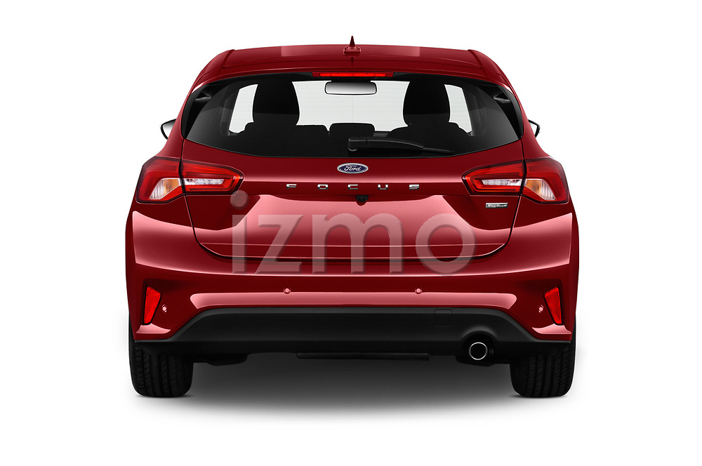 Straight rear view of a 2019 Ford Focus Titanium Business 5 Door Hatchback stock images