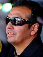 Sep 13, 2013; Charlotte, NC, USA; NHRA funny car driver Tony Pedregon during qualifying for the Carolina Nationals at zMax Dragway. Mandatory Credit: Mark J. Rebilas-