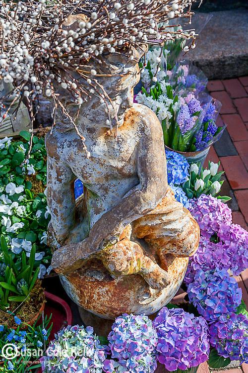 Garden center statue in Marblehead, Massachusetts, USA