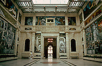 Detroit:  Detroit Institute of Arts, Rivera Court.  Interior.  Built in 1927.  Architect Paul Philippe Cret.  Beaux Arts & Italian Renaissance style.  Note: Michael Graves restored the museum in 2007.  Photo '97.