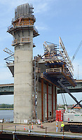 The New Pearl Harbor Memorial Bridge under Construction at New Haven Harbor Crossing, Connectictut. CONNDOT Contract B, Project #92-618. When complete the alternately named Quinnipiac River Bridge will be first Extradosed Engineered & Designed Bridge in the United States.