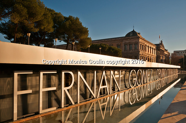 Fernan Gomez Cultural Center on Plaza Colon, with a view of the National Library in the background in Madrid, Spain